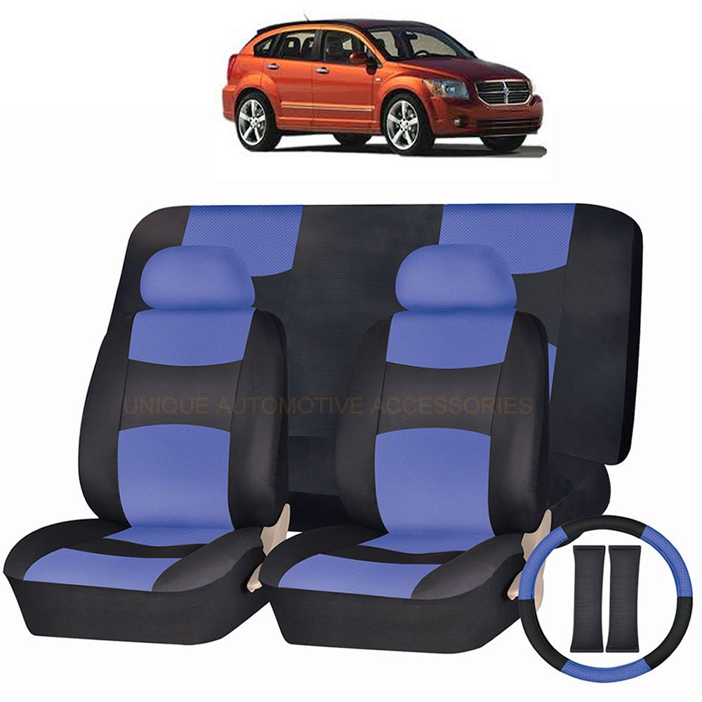 Pu Leather Blue Black Seat Covers 11pc Set For Dodge Avenger Journey Black Seat Covers Custom Seat Covers Seat Covers