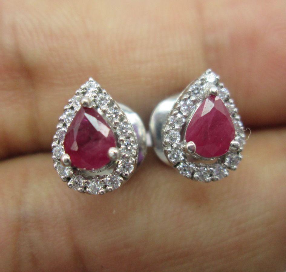 Pear Shape Ruby White Diamonds Earring Stud 14k Gold 925 Sterling Silver