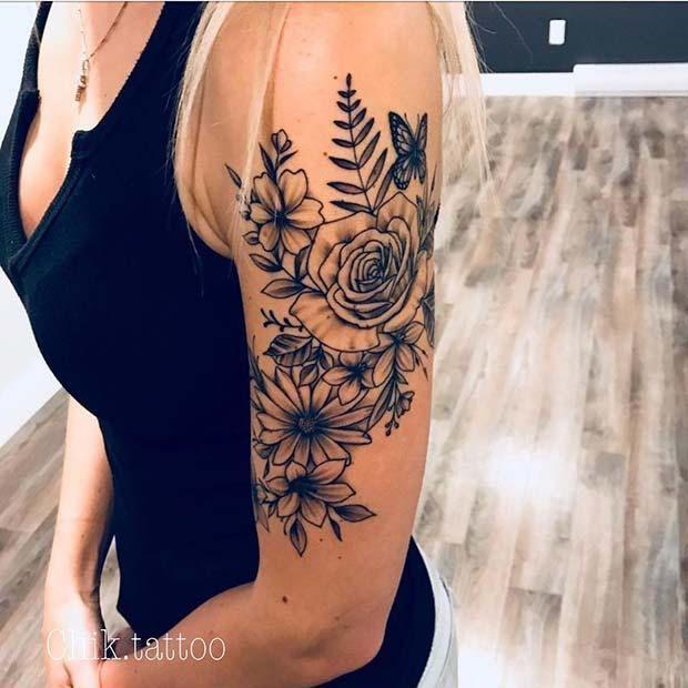 8. Oberarm-Blumen-Tätowierungs-Idee | 13 Blumen Tattoo