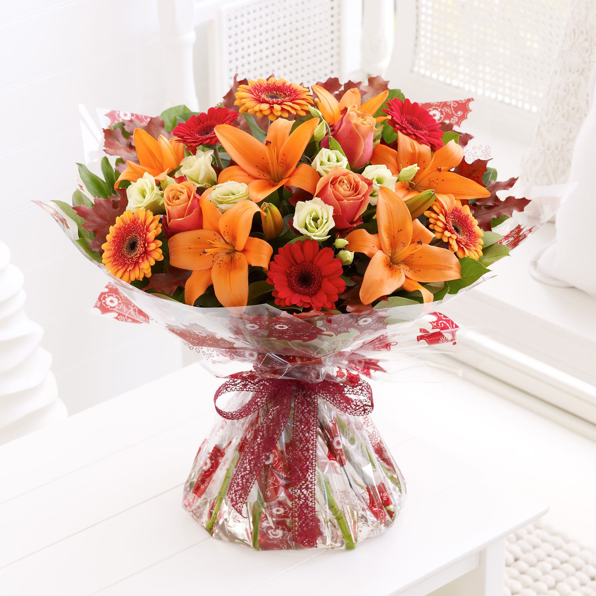 The autumn shades of germini in this bouquet are something truly ...
