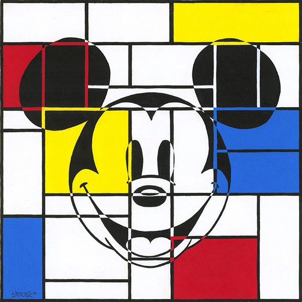 'Mondrian Mickey' a Giclee on Textured Canvas of Mickey Mouse by artist Tennessee Loveless. Available at Wyecliffe Galleries: http://wyecliffe.com/collections/disney-boutique-art/products/mondrian-mickey-tennessee-loveless