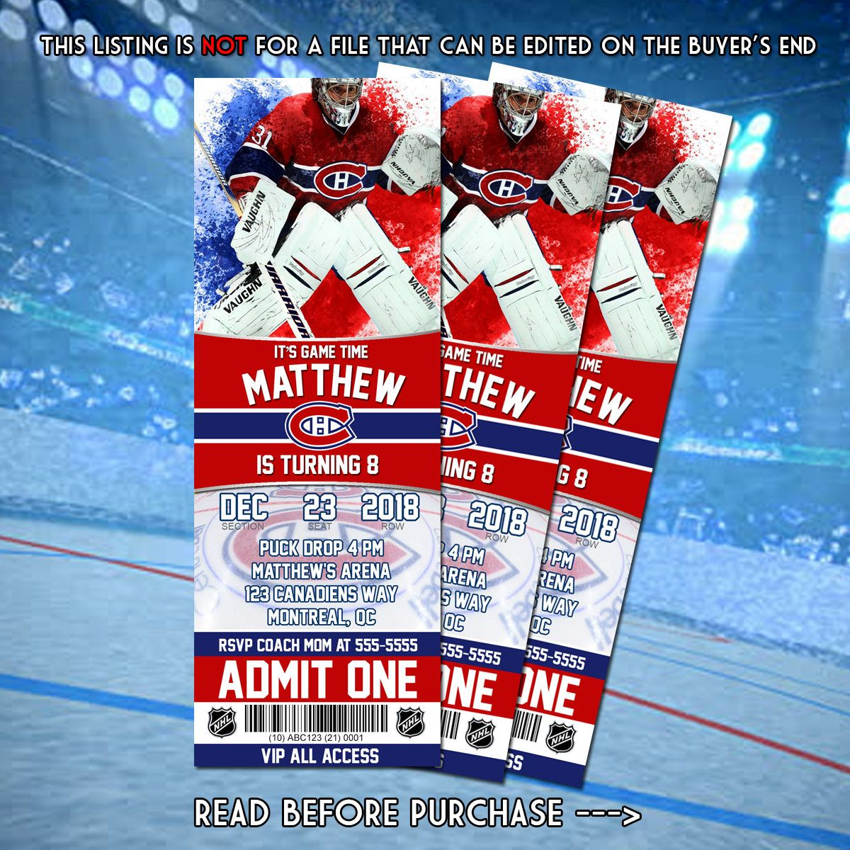 Montreal Canadiens Printable Birthday Invitation'; Hockey