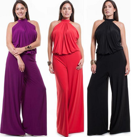 81d9a7e3c17e SUPER SEXY PLUS SIZE HALTER JUMPSUIT Sleeveless Sexy Wide Leg Pants Ro – Butterfly  Boutique