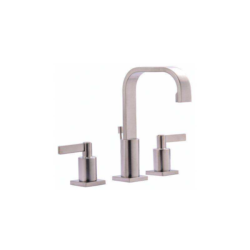 A contemporary faucet, characterized by its flat linear spout and ...