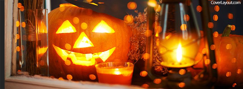 Fall Halloween Pumkin And Candle Facebook Cover Coverlayout Com