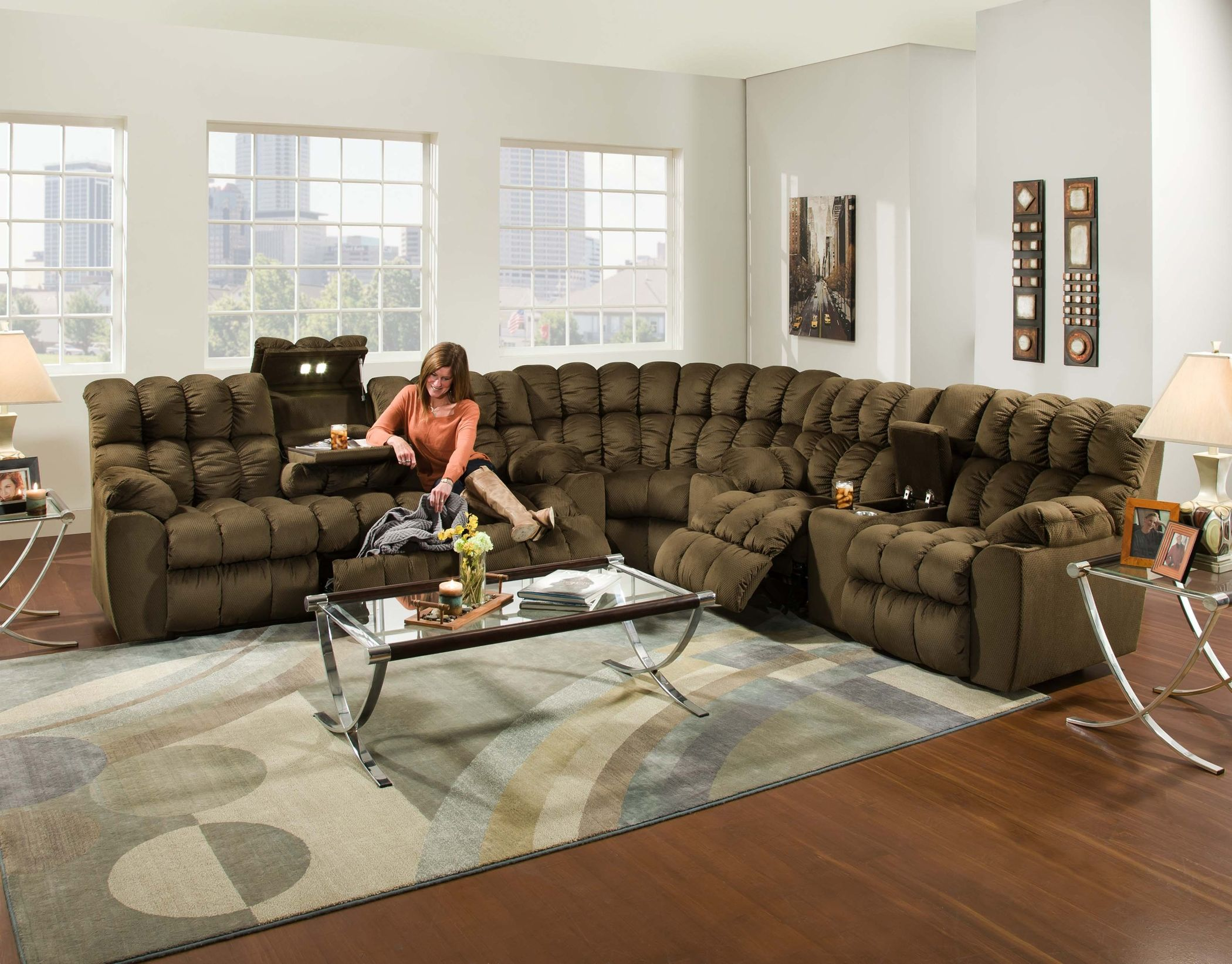 Brayden 440 Reclining Sectional With Dropdown Table Lights And More Reclining Sectional Sectional Sofa Sectional