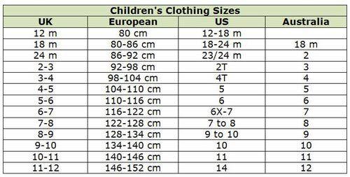 size 6 kids in european