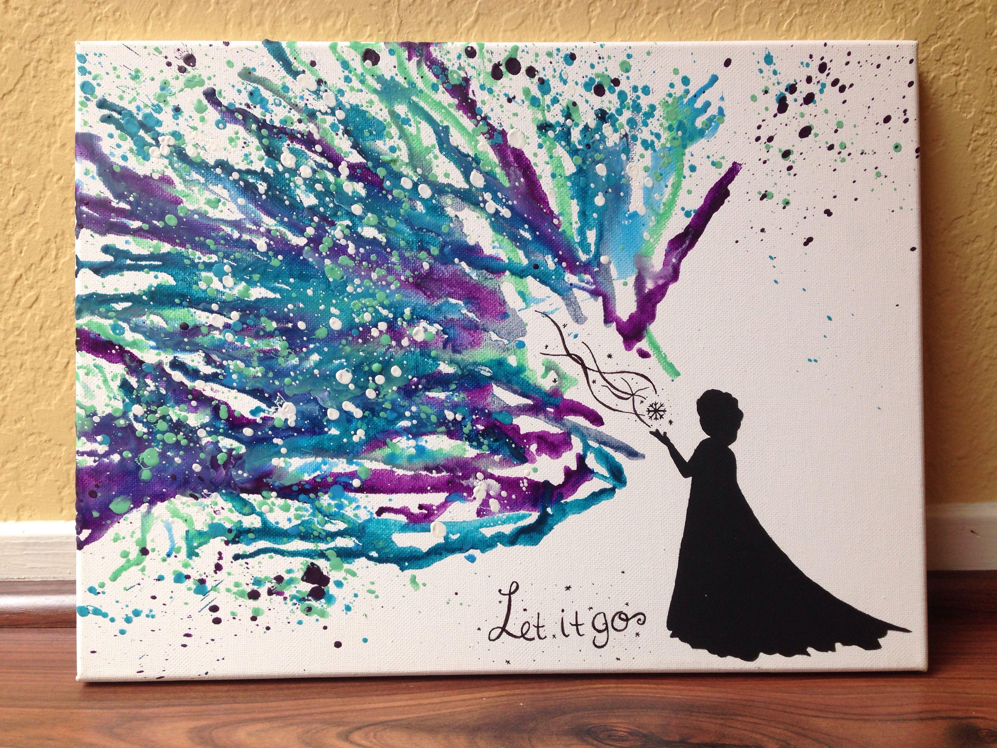 Di disney frozen wall murals - Disney S Frozen Melted Crayon Art Hand Painted Elsa