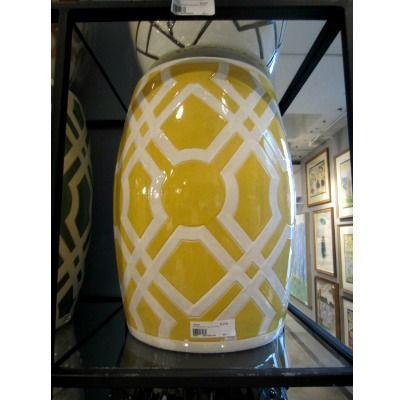 Labyrinth Garden Stool   Yellow   Emissary | Clayton Gray Home | White  Pattern Ceramic Furniture