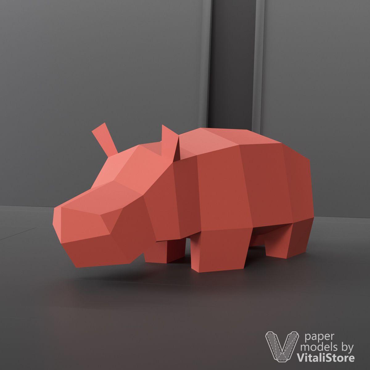 Hippo Papercraft Paper Sculpture, DIY Gift | 3D Papercraft | Paper