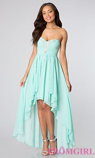 3b6a2fb1215 Strapless High Low Dress for Homecoming at PromGirl.com