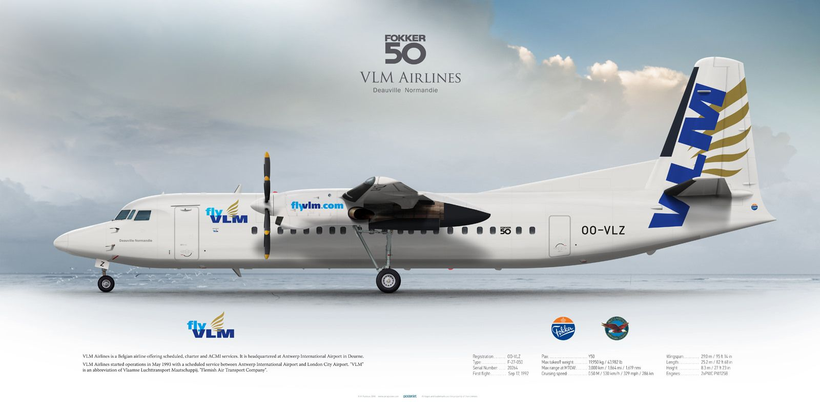 fokker 50 vlm airlines oovlz planes fokker 50