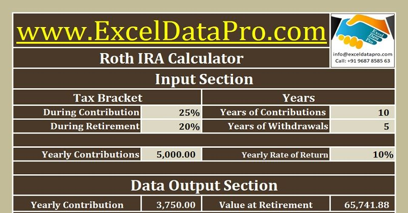 Download Roth IRA Calculator Excel Template Retirement Planning