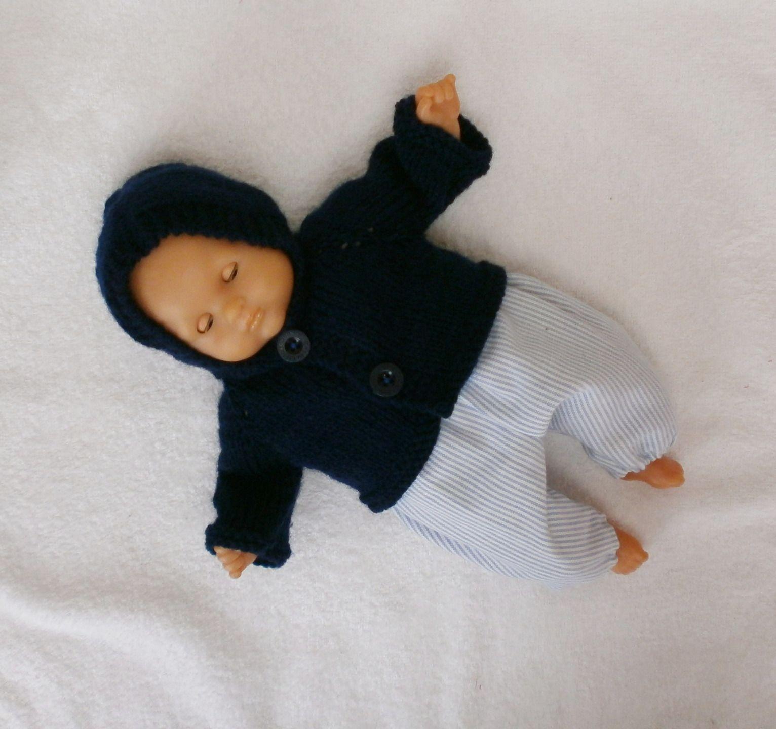 Habits poupon 30 cm - ensemble d'hiver bleu, pantalon et veste à capuche : Jeux, jouets par mcl-poupees