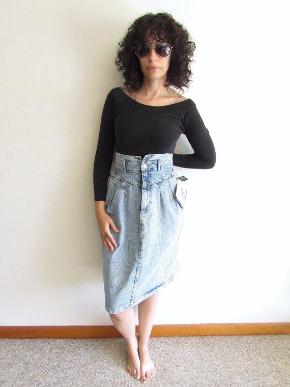 e83188ba53 Vintage Acid Wash Denim Skirt High Waist Jean Skirt Gitano 80s 90s Skirt M