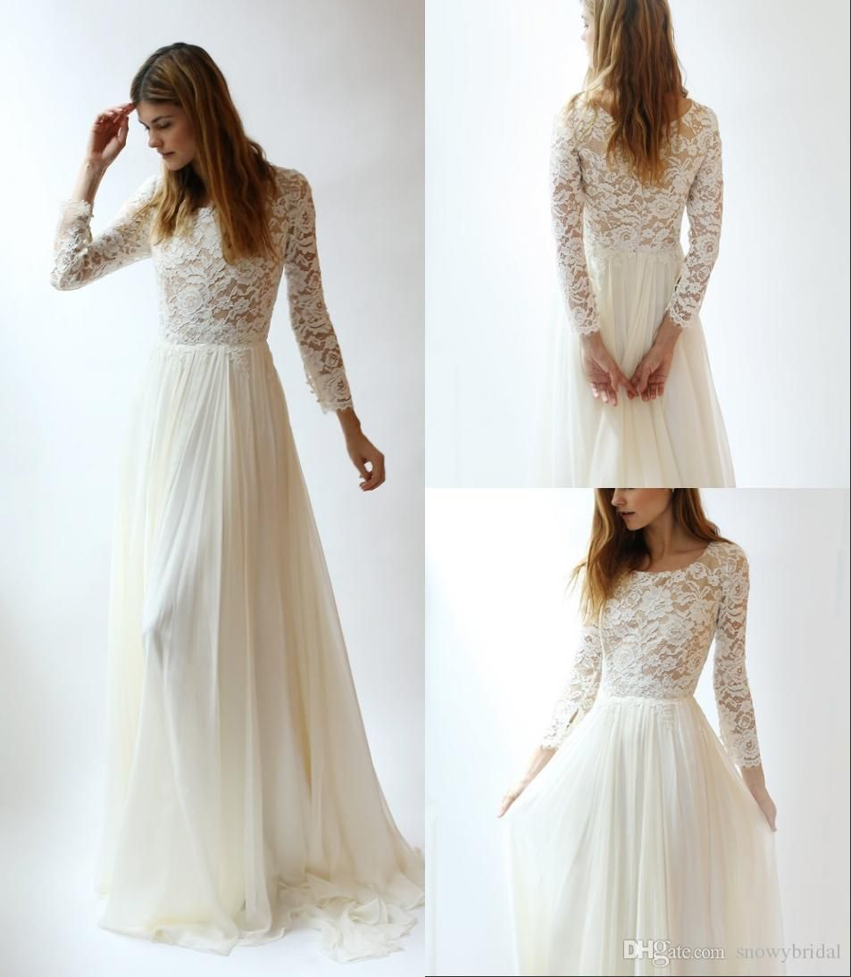 Long sleeves lace modest wedding dresses with long lace sleeves