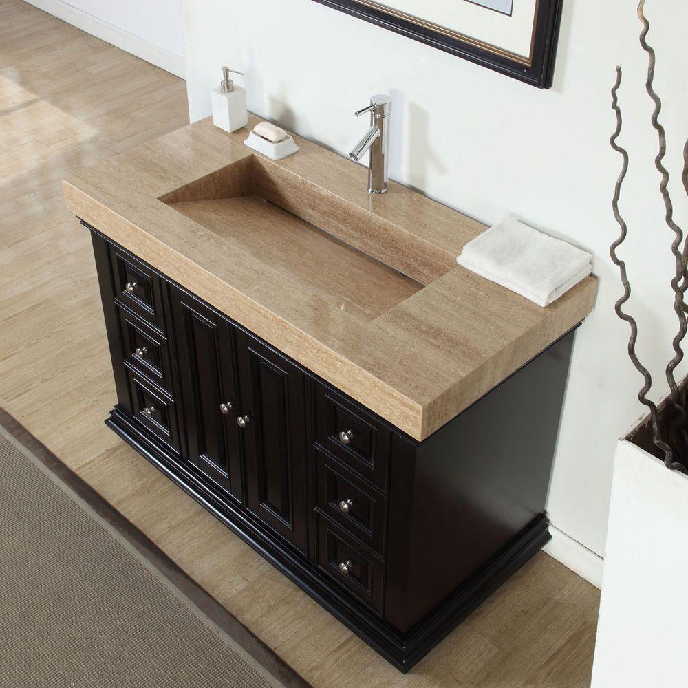48 Inch Modern Bathroom Single Vanity Cabinet Travertine Top Ramp