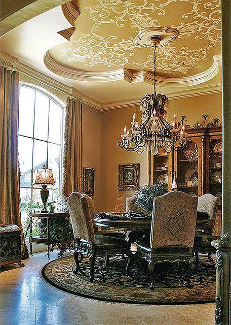 Trompe l 39 oeil dining room ceiling create an exceptional - Decoration trompe l oeil ...