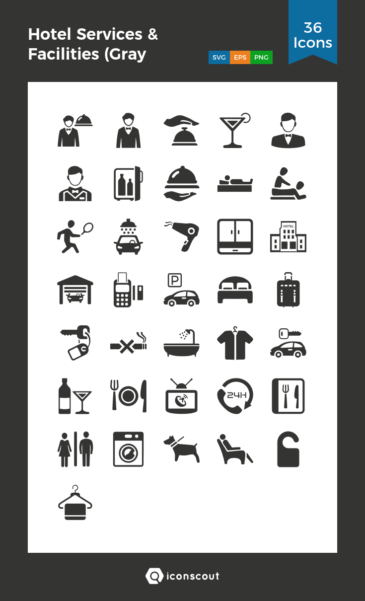 Download Hotel Services & Facilities (Gray Series) Icon