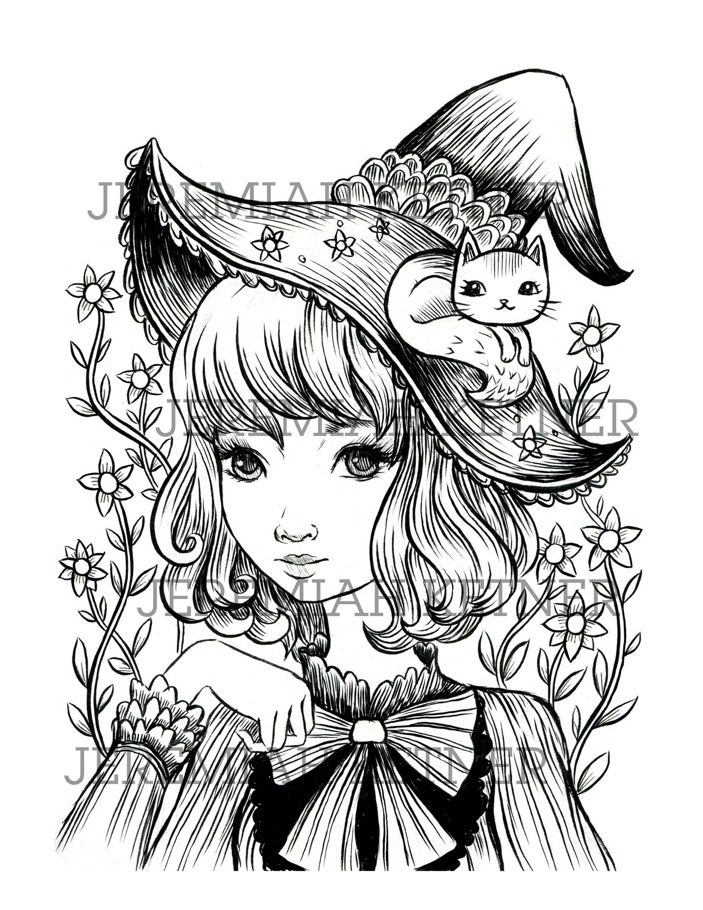 lovely witch  coloring page  instant download  witch