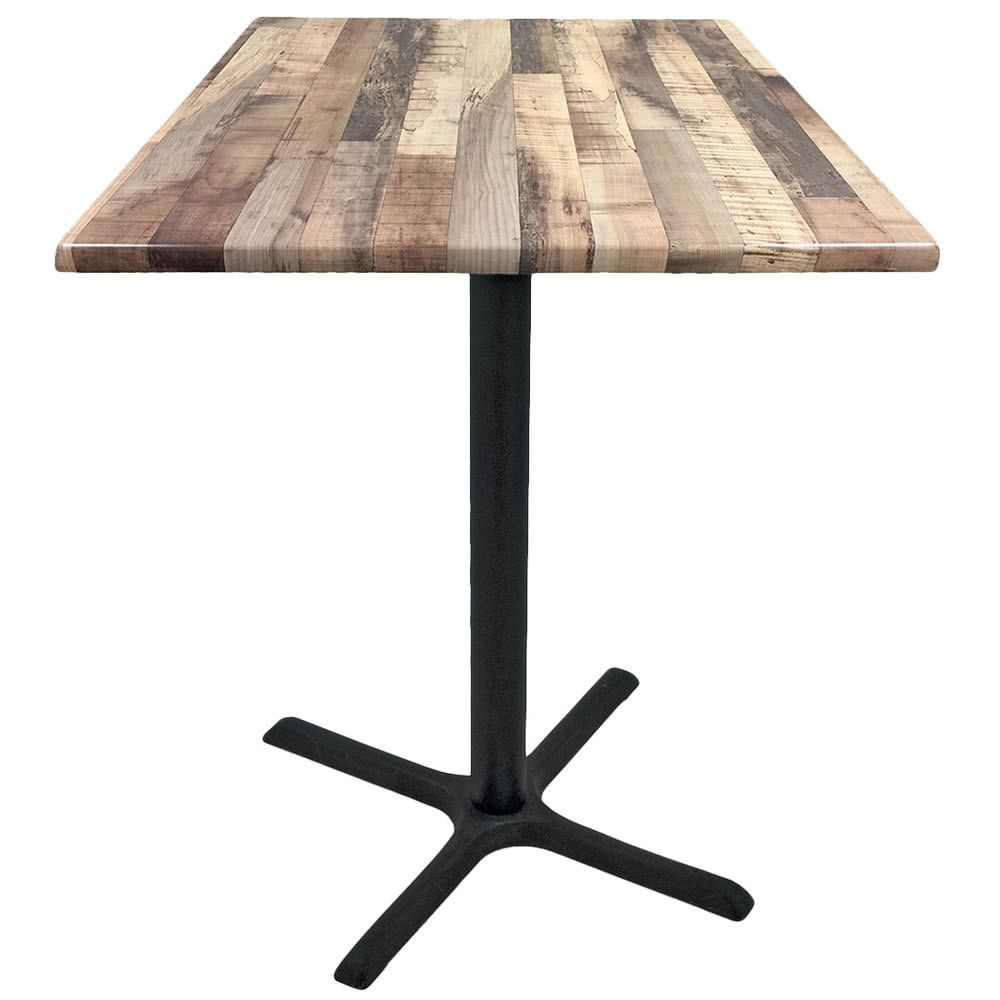 Holland Bar Stool Od211 3030bwod30sqrustic 30 Square Rustic Wood Laminate Outdoor Indoor Standard Height Table With Cross Base Holland Bar Stool Indoor Bar Wood Laminate