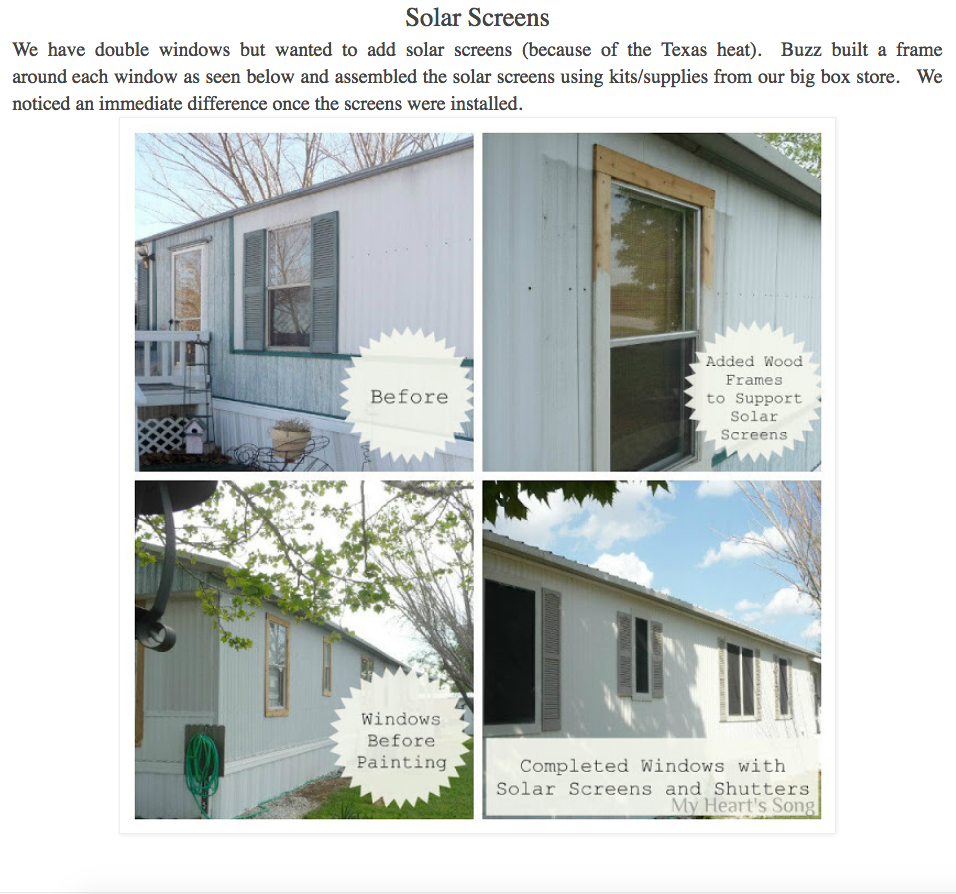 Framed Windows With Shutters Added To Mobile Home With Solar Screens Mobile Home Exteriors Window Trim Exterior House Shutters