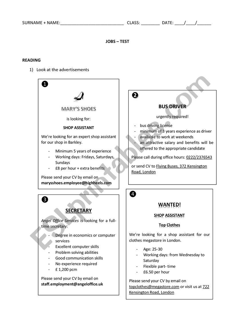 Four Job Advsertisements Two Different Comprehension Exercises