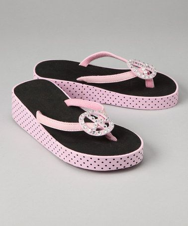 e0e45a077356 Love this Light Pink   Black Peace Sign Flip-Flop by Luna Kicks on  zulily!   zulilyfinds