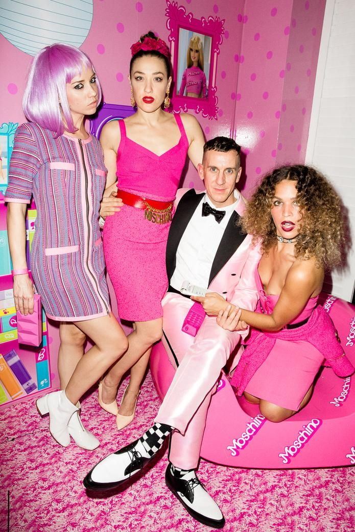 Caitlin Moe, Mia Moretti, Jeremy Scott, and Cleo Wade at the Moschino party
