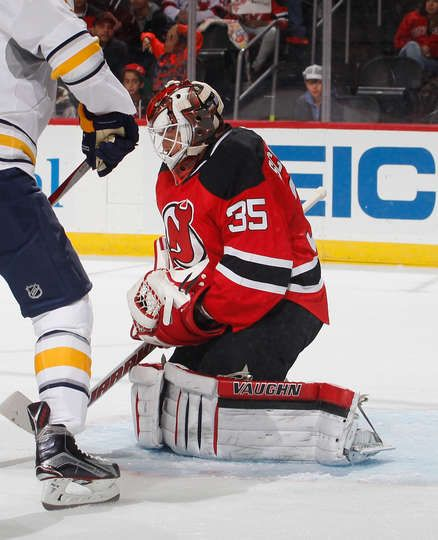 NEWARK, NJ - NOVEMBER 12: Cory Schneider #35 of the New Jersey Devils makes a save against the Buffalo Sabres during the game at Prudential Center on November 12, 2016 in Newark, New Jersey. (Photo by Paul Bereswill/NHLI via Getty Images)