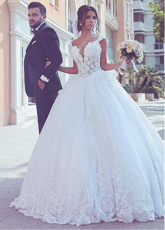 Wedding Dresses Ball Gown Fantastic Tulle V Neck Neckline Basque