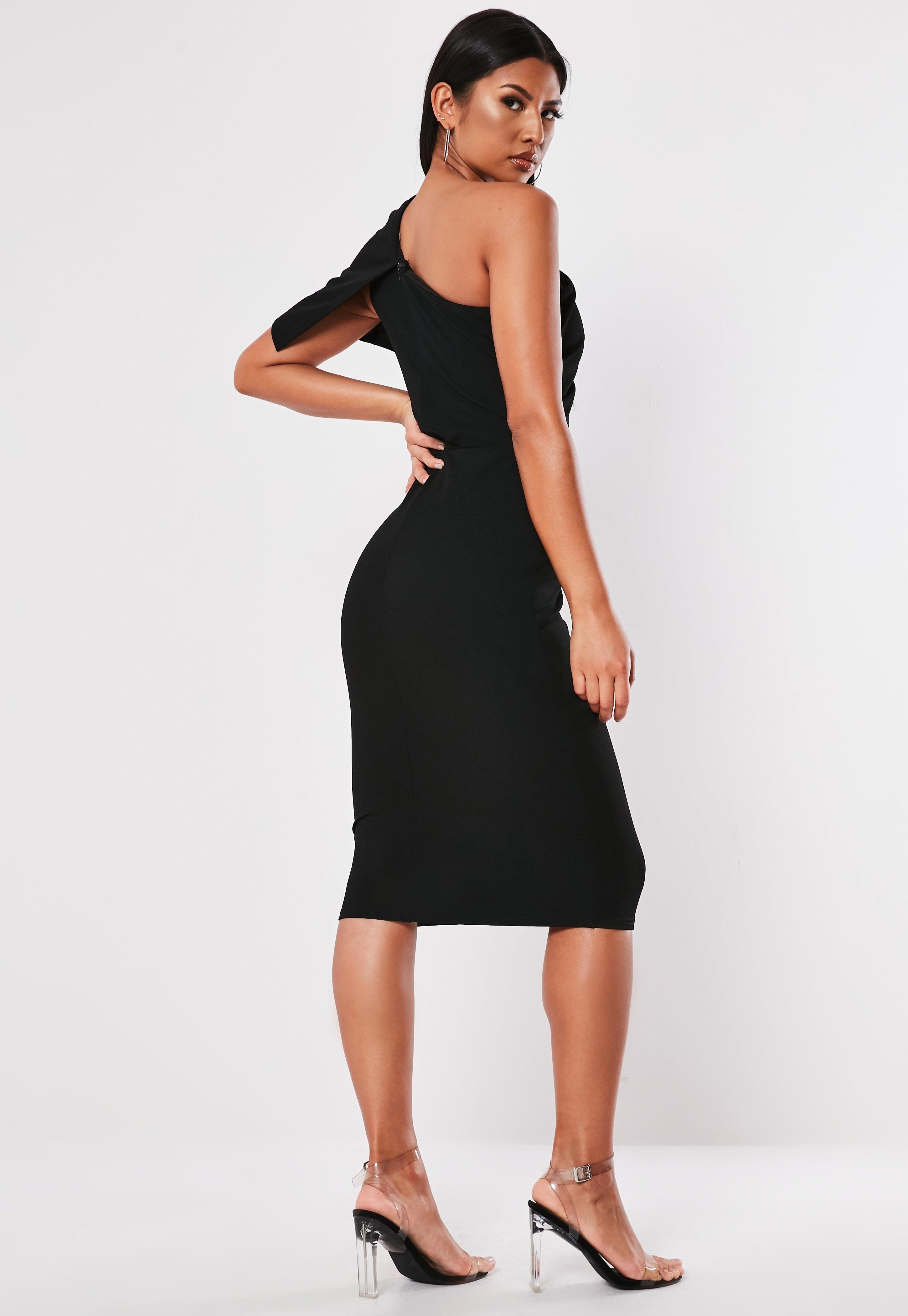 d3d103e88 Black Overlay One Shoulder Bodycon Midi Dress #Sponsored #Shoulder,  #affiliate, #