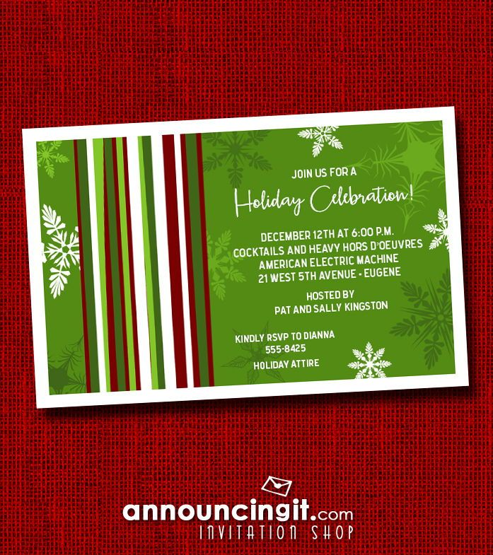 Mod Snow on Green Holiday Invitations in 2018 Invitations