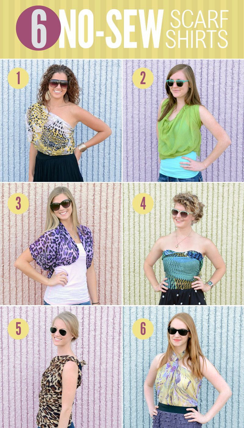 6 Ways To Diy A Scarf Into A Shirt €� No Sewing Required