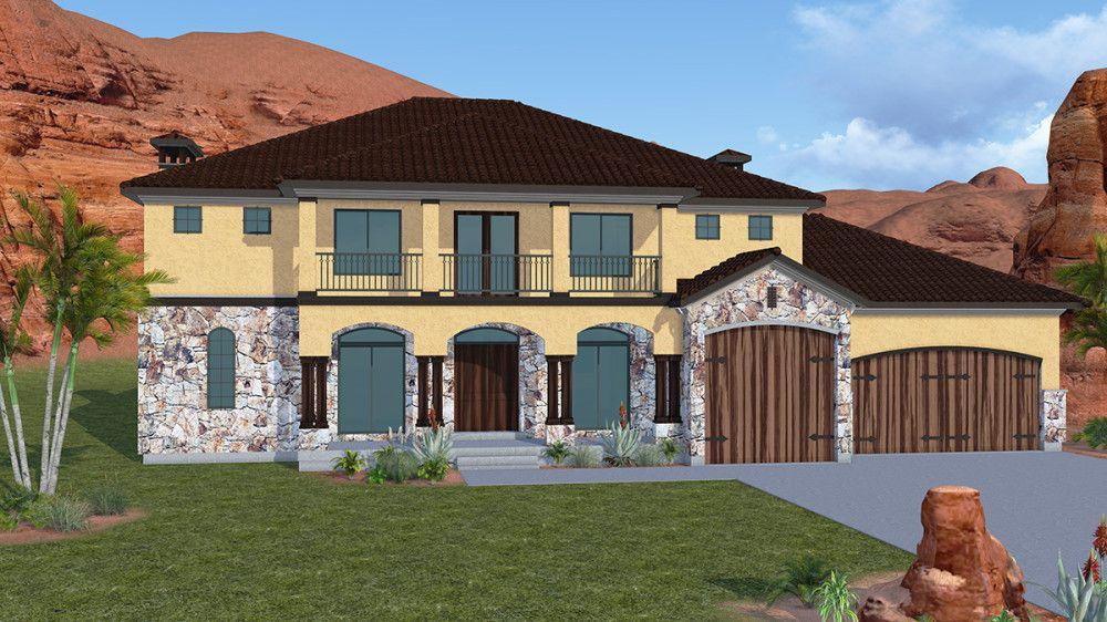 Sierra Villa - 2 Story Mediterranean style house plan - Walker ...