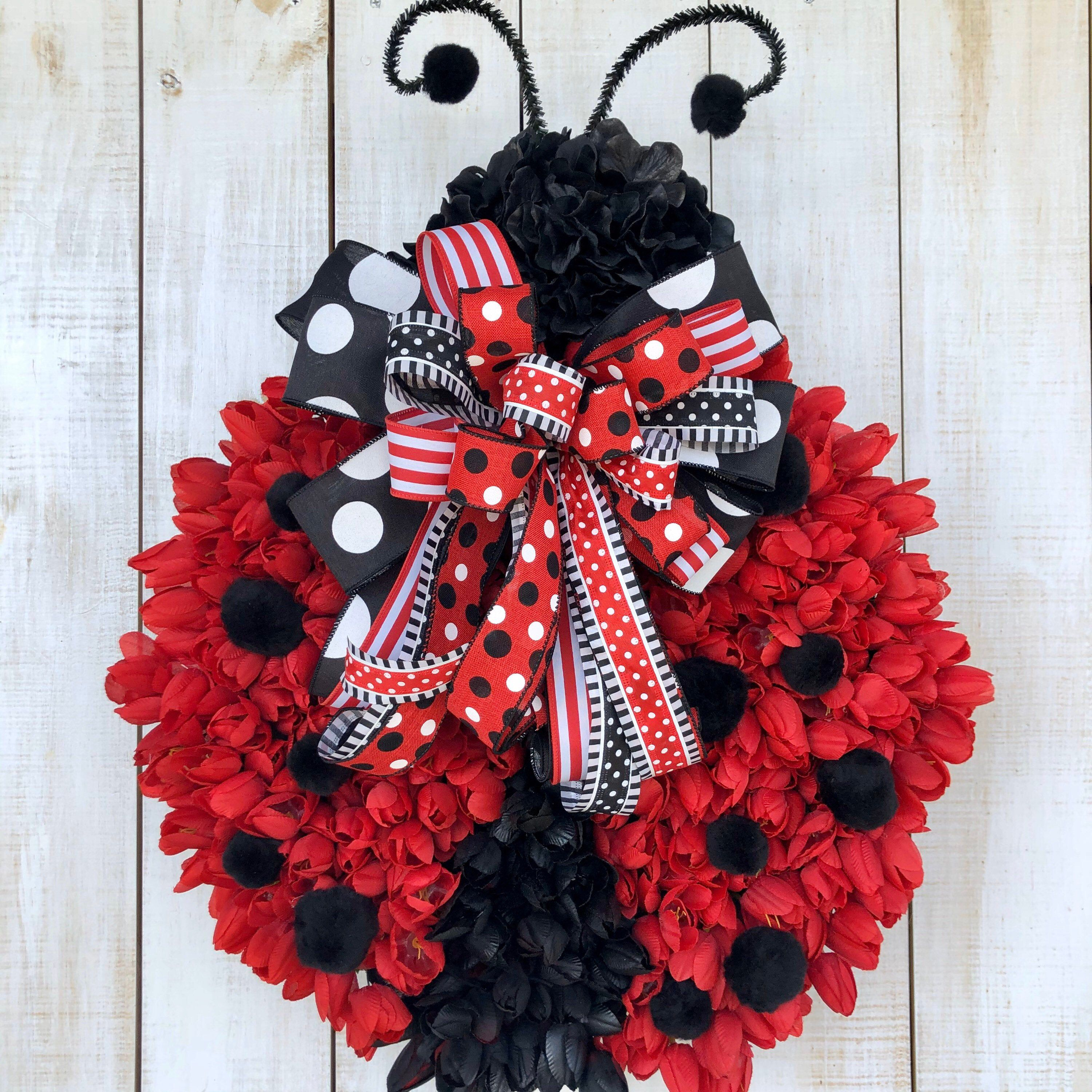 Ladybug Wreath Red Tulip Everyday All Season Spring Or Summer Door Hanger Farmhouse Decor For Front Door Home Business Or Gift Idea In 2020 Ladybug Wreath Summer Door Hanger Wreaths