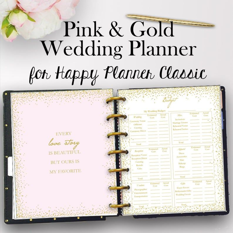 Happy Planner Wedding Planning Inserts Wedding Planner Etsy In 2020 Happy Planner Printables Wedding Planner Printables Planner