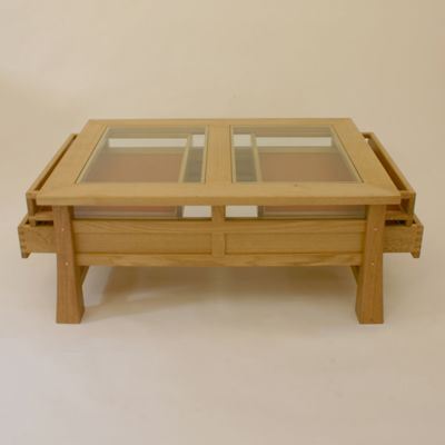 Display Table Oak Coffee Table With Glass Copper And