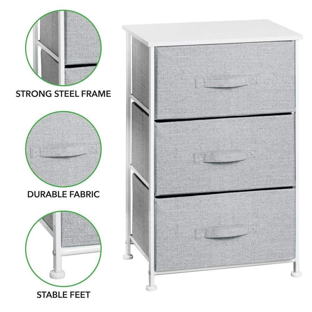 Mdesign Vertical Dresser Storage Tower Sturdy Steel Frame Wood Top Easy Pull Fabric Bins Organizer Unit For Child Dresser Storage Fabric Bins Organizing Bins [ 1000 x 1000 Pixel ]