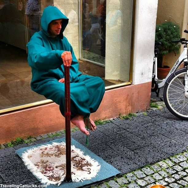 """This street performer in Bernkastel-Kues, Germany had me saying """"What the...?!"""" See more baffling travel photos here: http://www.huffingtonpost.com/the-gypsynesters/crazy-travel-photos_b_2236800.html"""