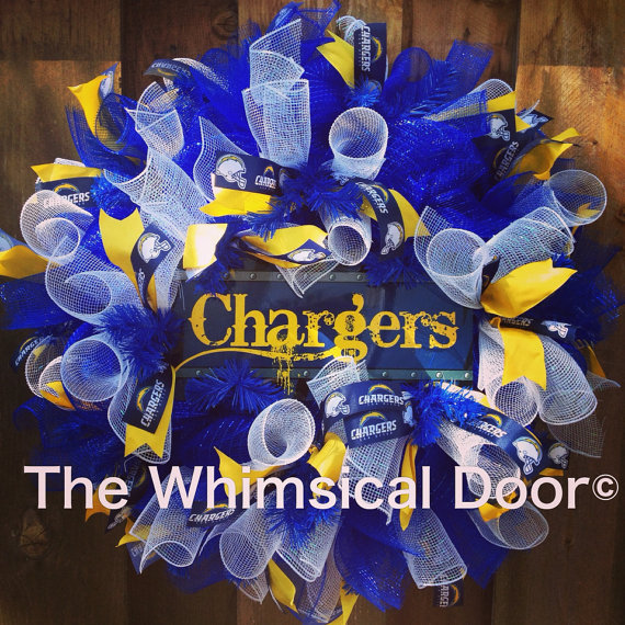 San Diego Chargers Gifts: San Diego Chargers Mesh Wreath NFL Football Draft Day