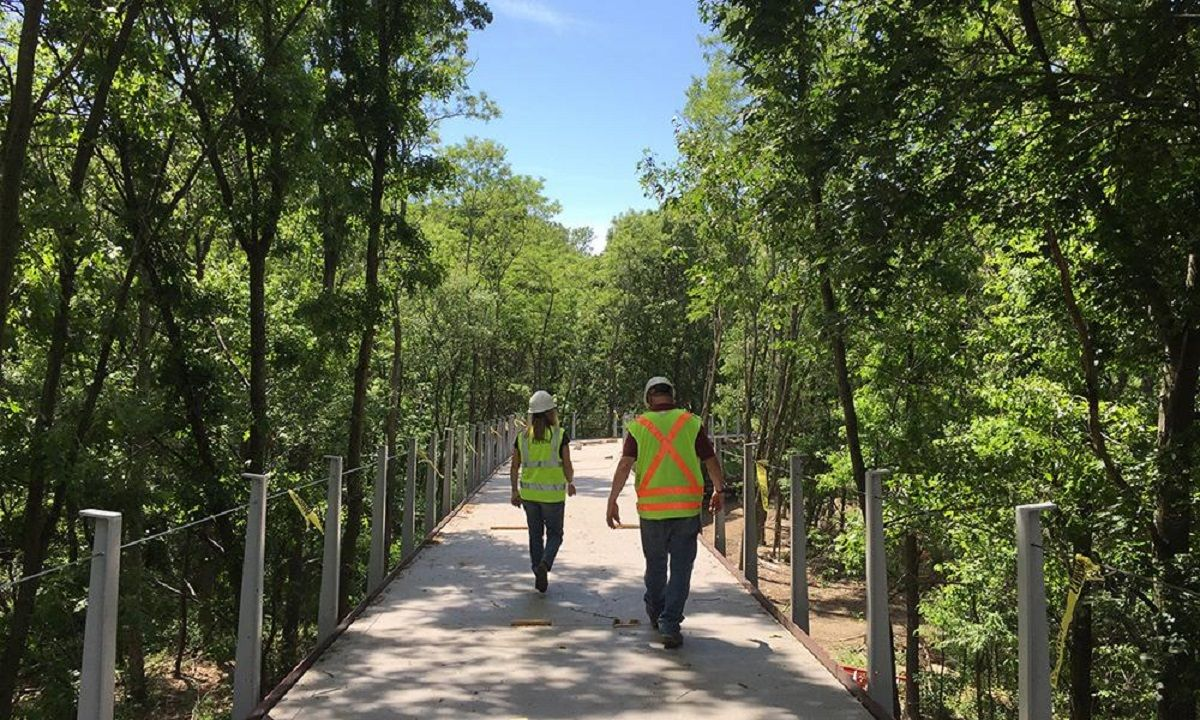 Canopy walk construction & Canopy walk construction | Neponset River Greenway Boston MA ...