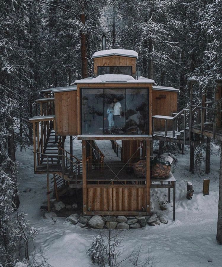 Wooden House In The Middle Of The Woods Tree House Designs Tiny