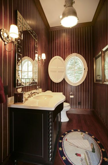 Nothing says lake home like  teak paneled bath complete with nautical lighting and accessories built by martin bros contracting inc goshen also rh pinterest