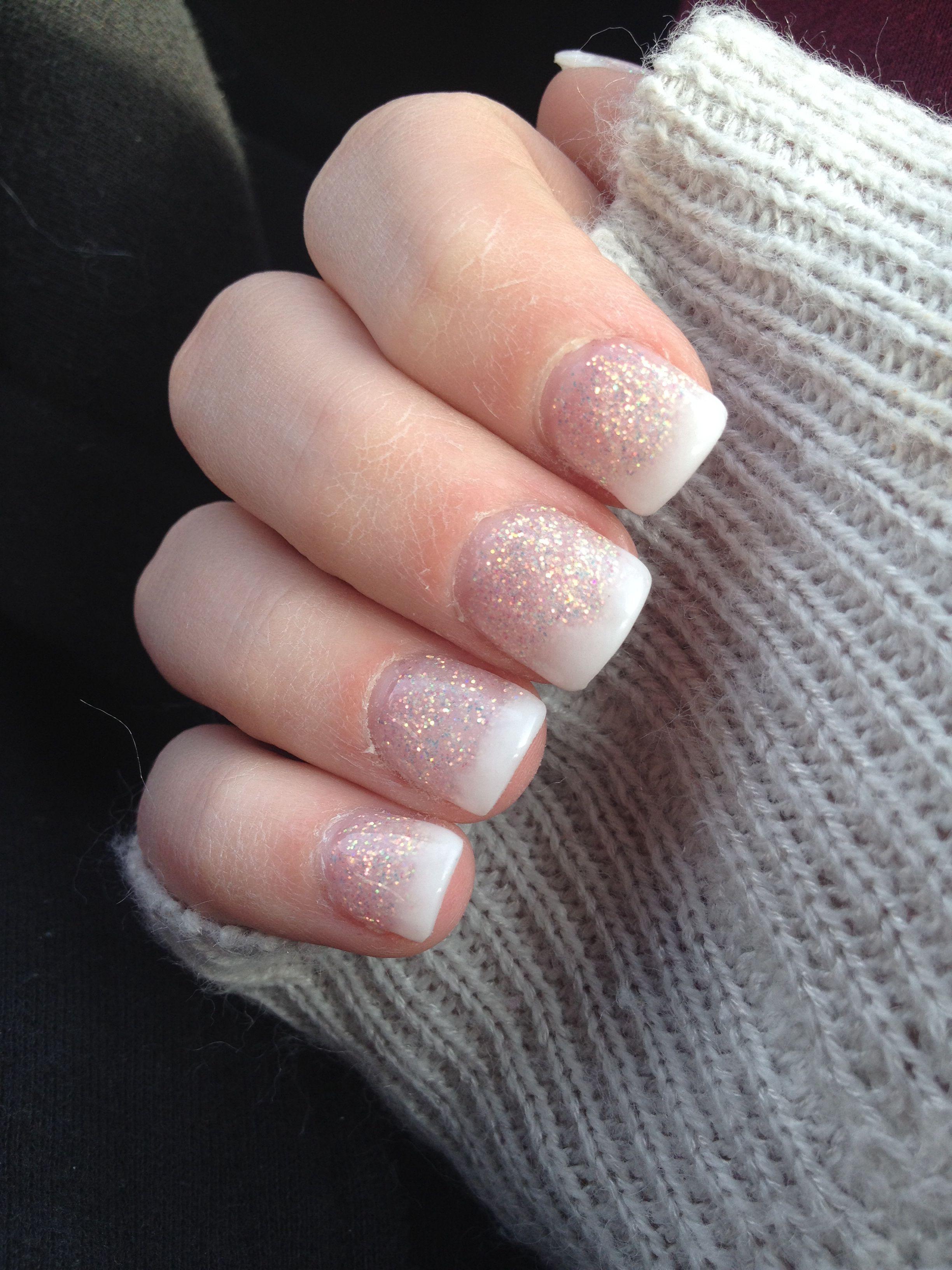 Antique White Sparkles W Natural White Tip Gel Nails Gel Nails Nails Pretty Nails Classy
