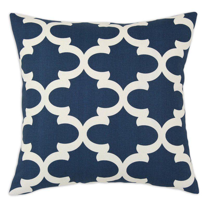 Brite Ideas Living Fynn Down Decorative Pillow NavyCream Simple Down Decor Pillows