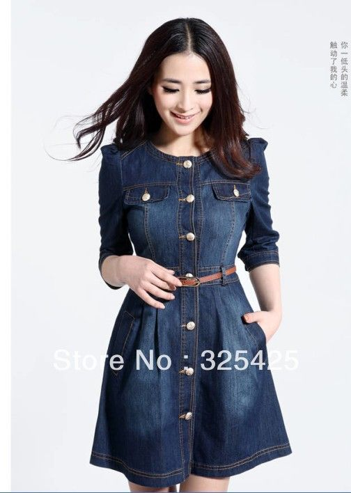 Women\'s vintage the disassemblable lace collar denim one-piece dress ...