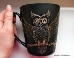 Steampunk Owl Mug by Evidriell