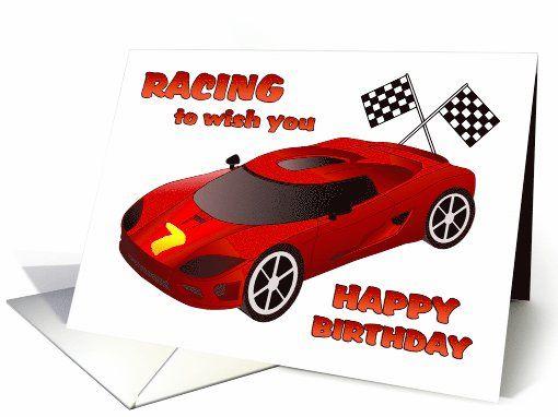Happy 7th Birthday Race Car Birthday Card Race Car Birthday Party Race Car Birthday Car Birthday Party Invitations