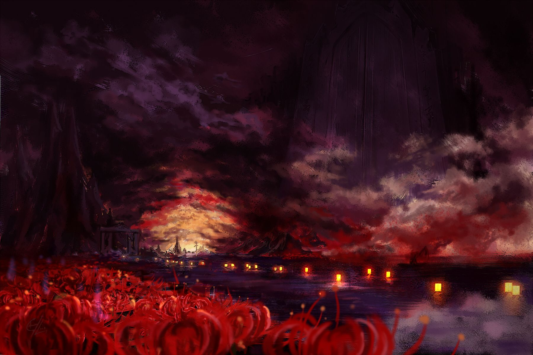 Styx River Red Spider Lily Art Background Anime Wallpaper